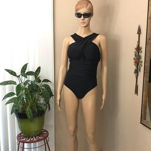 Black Padded One-Piece Monokini Swimsuit Size SM
